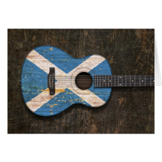 Scratched and Worn Scottish Flag Acoustic Guitar Greeting Cards