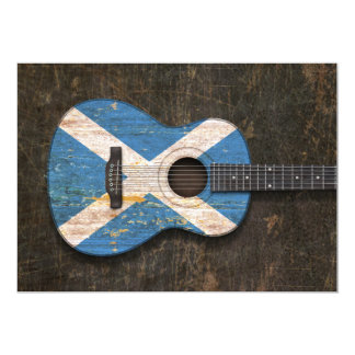 Scratched and Worn Scottish Flag Acoustic Guitar Invite
