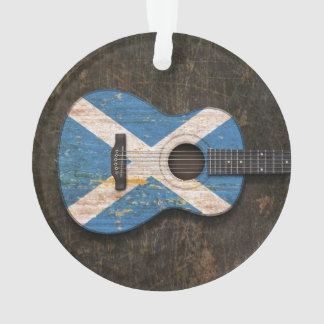 Scratched and Worn Scottish Flag Acoustic Guitar Ornament