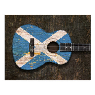 Scratched and Worn Scottish Flag Acoustic Guitar Postcard