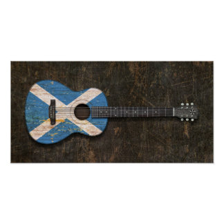 Scratched and Worn Scottish Flag Acoustic Guitar Poster