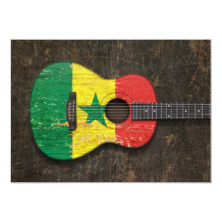 Scratched and Worn Senegal Flag Acoustic Guitar Card