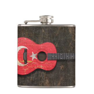 Scratched and Worn Turkish Flag Acoustic Guitar Flask