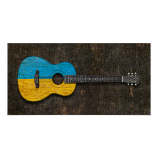 Scratched and Worn Ukrainian Flag Acoustic Guitar Poster
