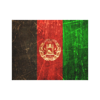 Scratched and Worn Vintage Afghan Flag Stretched Canvas Prints