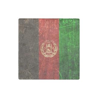 Scratched and Worn Vintage Afghan Flag Stone Magnet