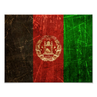 Scratched and Worn Vintage Afghan Flag Print