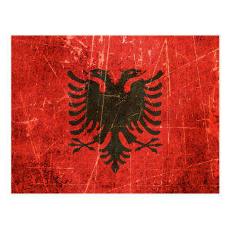 Scratched and Worn Vintage Albanian Flag Postcard