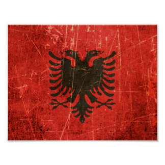 Scratched and Worn Vintage Albanian Flag Poster