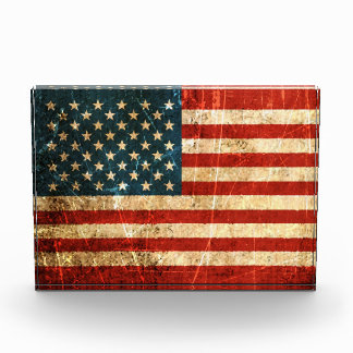 Scratched and Worn Vintage American Flag Award