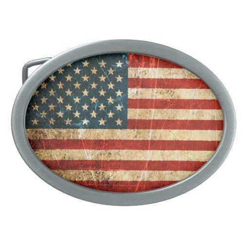 Scratched and Worn Vintage American Flag Belt Buckle