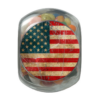 Scratched and Worn Vintage American Flag Glass Jar