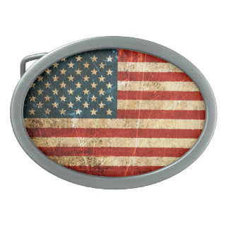 Scratched and Worn Vintage American Flag Oval Belt Buckle