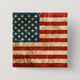 Scratched and Worn Vintage American Flag Pinback Button