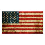 Scratched and Worn Vintage American Flag Poster