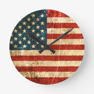 Scratched and Worn Vintage American Flag Round Clock