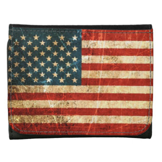 Scratched and Worn Vintage American Flag Wallet