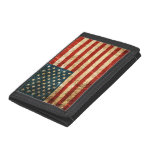 Scratched and Worn Vintage American Flag Trifold Wallets