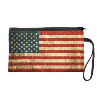 Scratched and Worn Vintage American Flag Wristlet