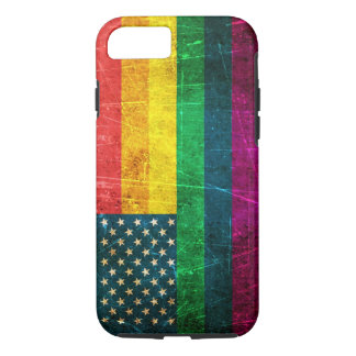 Scratched and Worn Vintage American Rainbow Flag iPhone 8/7 Case