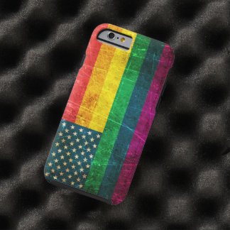 Scratched and Worn Vintage American Rainbow Flag Tough iPhone 6 Case
