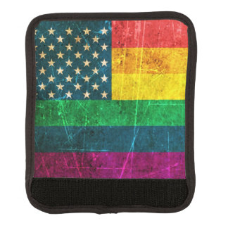 Scratched and Worn Vintage American Rainbow Flag Luggage Handle Wrap