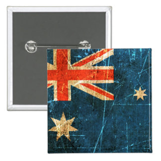 Scratched and Worn Vintage Australian Flag Pinback Button