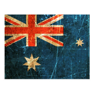 Scratched and Worn Vintage Australian Flag Post Cards