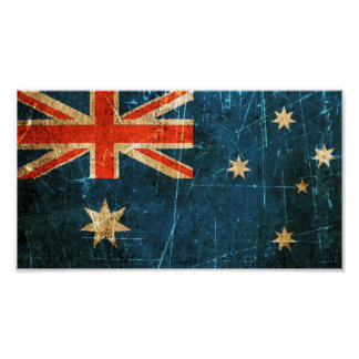 Scratched and Worn Vintage Australian Flag Poster
