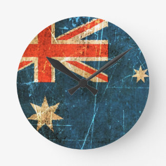 Scratched and Worn Vintage Australian Flag Round Clock