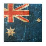 Scratched and Worn Vintage Australian Flag Tiles