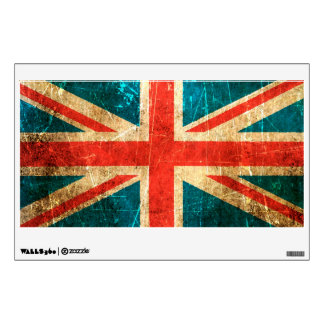 Scratched and Worn Vintage British Flag Wall Sticker