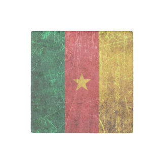Scratched and Worn Vintage Cameroon Flag Stone Magnet