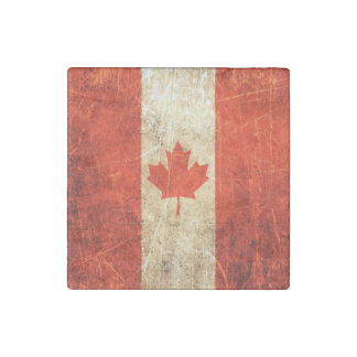 Scratched and Worn Vintage Canadian Flag Stone Magnet