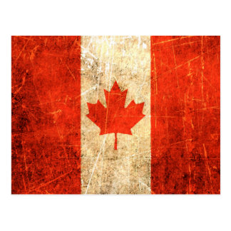 Scratched and Worn Vintage Canadian Flag Postcard