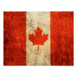 Scratched and Worn Vintage Canadian Flag Poster
