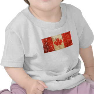 Scratched and Worn Vintage Canadian Flag Tee Shirts