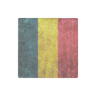 Scratched and Worn Vintage Chad Flag Stone Magnet