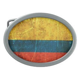 Scratched and Worn Vintage Colombian Flag Oval Belt Buckle