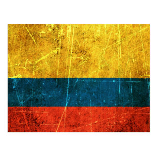 Scratched and Worn Vintage Colombian Flag Postcard