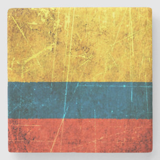 Scratched and Worn Vintage Colombian Flag Stone Coaster