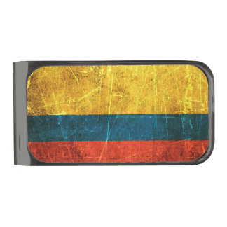 Scratched and Worn Vintage Colombian Flag Gunmetal Finish Money Clip