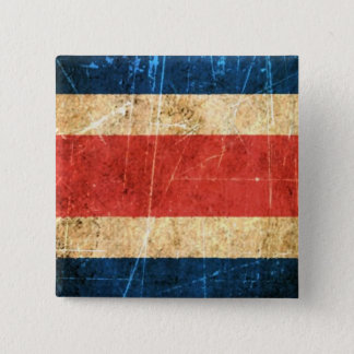 Scratched and Worn Vintage Costa Rica Flag Pinback Button