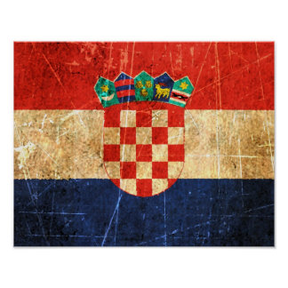 Scratched and Worn Vintage Croatian Flag Poster