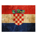 Scratched and Worn Vintage Croatian Flag Print