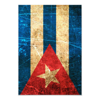Scratched and Worn Vintage Cuban Flag Card