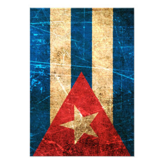 Scratched and Worn Vintage Cuban Flag Personalized Invite