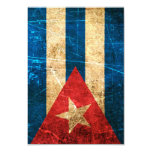 Scratched and Worn Vintage Cuban Flag 3.5x5 Paper Invitation Card