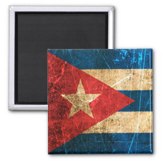 Scratched and Worn Vintage Cuban Flag Refrigerator Magnet