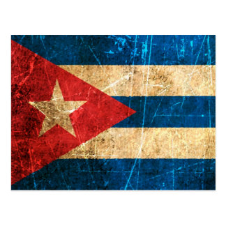 Scratched and Worn Vintage Cuban Flag Postcard